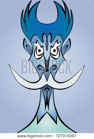 sketch cartoon image of the head of Don Quixote