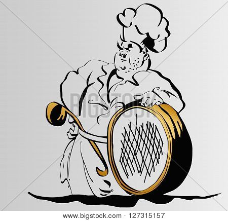 men cook with a ladle in his belt holds a sieve sketch