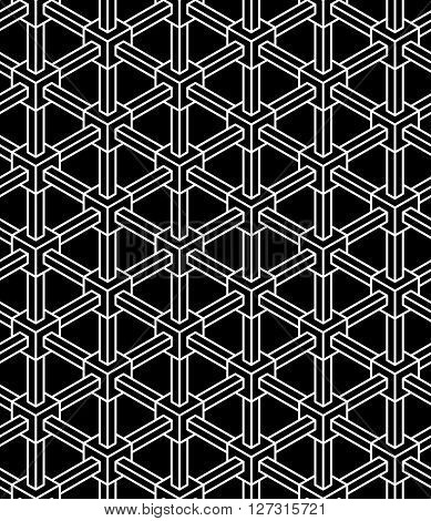 3d illusion industrial geometric seamless vector pattern