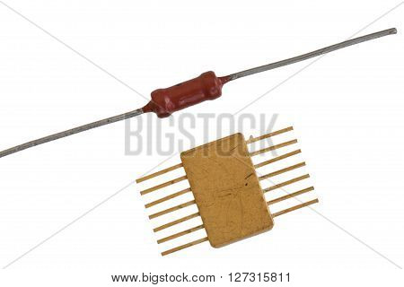 Old radio components on a white background