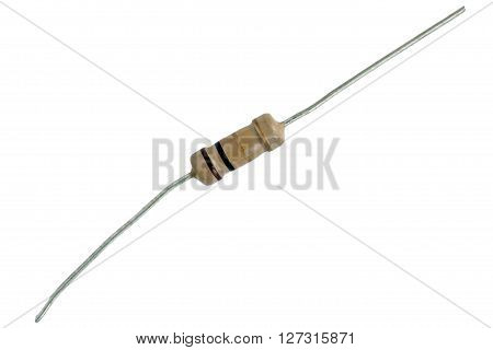 A electrical resistor on the white background