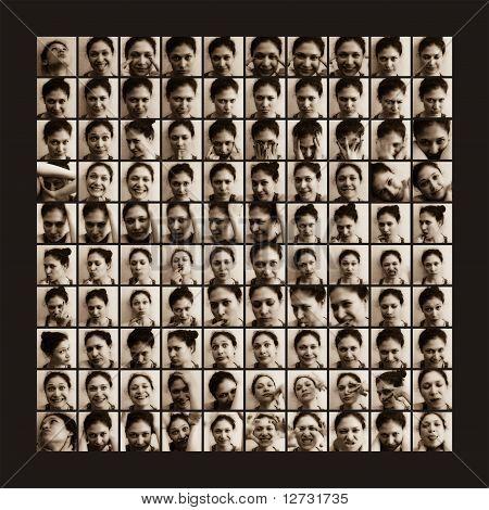 100 shots of women emotions
