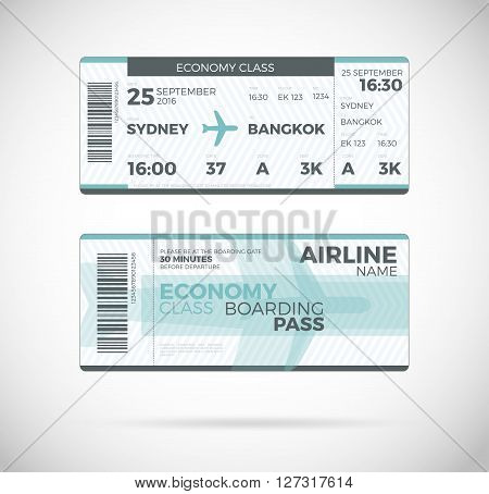 Airline boarding pass Economy Class ticket template. Vector Plane ticket illustration. Ticket Pass Card modern element vector design template