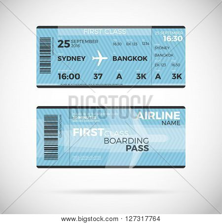 Airline boarding pass ticket for First class template. Vector Plane ticket illustration. Ticket Pass Card modern element vector design template
