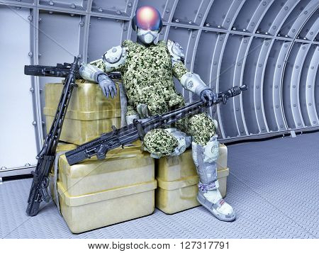 Cyborg with arms in the tunnel.3D rendering