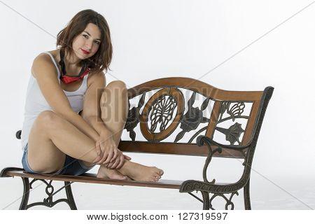 A brunette model in a studio environment