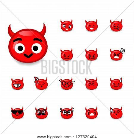 Collection of difference emoticon devil cartoon isolated on white background vector illustration