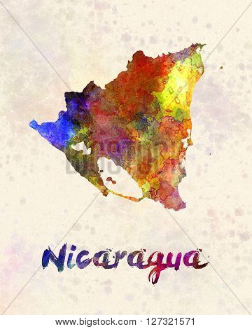 Nicaragua map in artistic abstract watercolor background