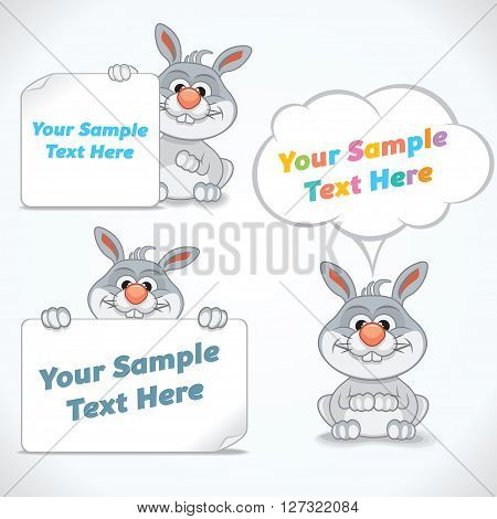 Funny Cartoon Rabbit with Banners and Labels. Vector Ready for Your Text and Design.