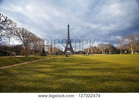 PARIS, FRANCE - MARCH 26, 2016: Beautiful view of Eiffel tower, Paris, France