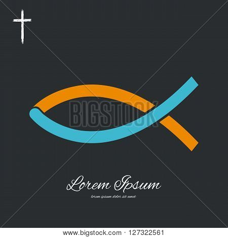 Christian Fish Symbol. Vector background. Cross. Vector christian sign