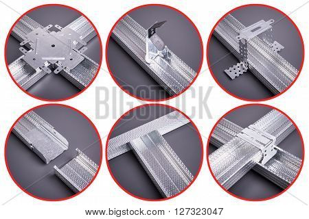 The fastenings for plasterboard, profile for plasterboard, plasterboard fastening, set of building profiles, building materials, steel profiles for repair, construction works, Isolated on white