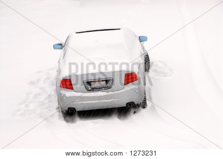 Abandoned Car In The Snow