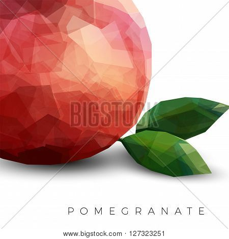 Red Pomegranate Modern style polygonal fruit with leafs isolated on white background with soft shadow vector template. Garnet fruit modern illustration