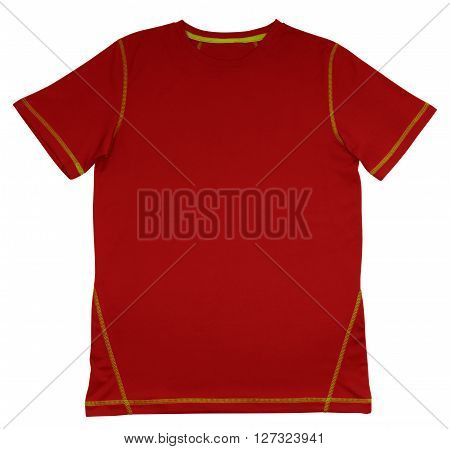 Red T-Shirt with green seam isolated on white background. Clipping path included.