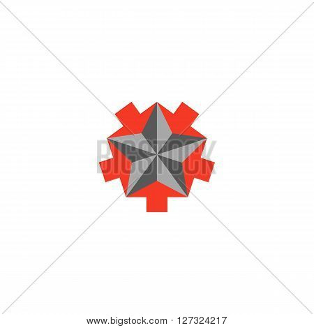 Faceted Star Logo, 5 Arrows Converging Star Shape, Creative Symbol Teamwork Success