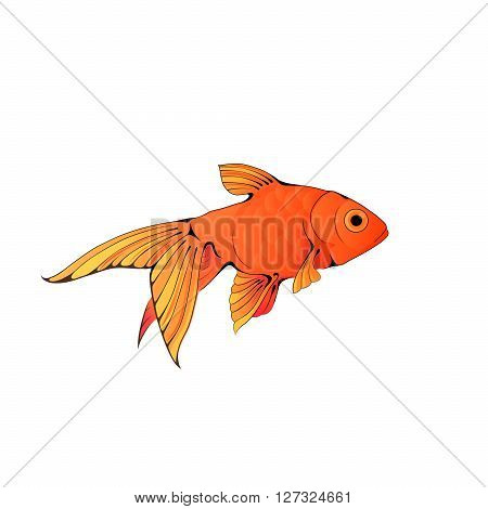 Hand-drawn ink-stylized colorful little aquarium fish isolated on white