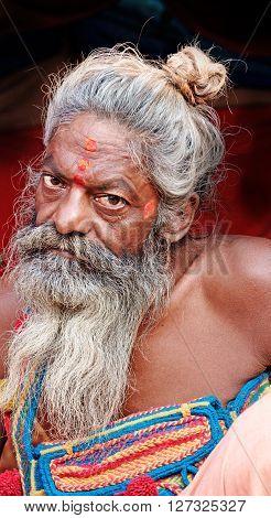 Allahabad, India- 25 January 2013: A Hindu sadhu  during Kumbha Mela festival