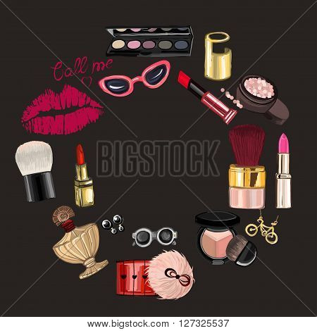 Hand drawn images Cosmetics and Perfume For any kind of design