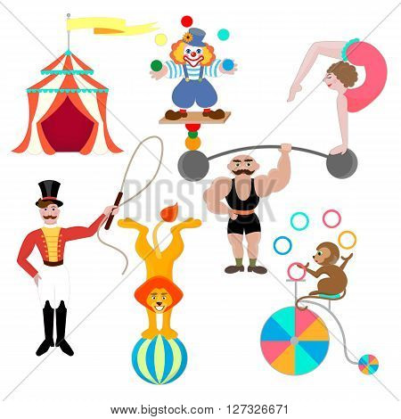 Set circus theme. Clown athlete gymnast trainer lion and monkey on a ball juggler on a bicycle.