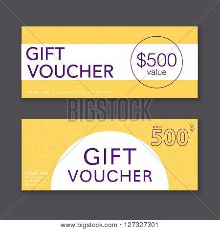 Gift Voucher Template With Colorful Pattern, Gift Certificate. Background Design Gift Coupon, Vouche