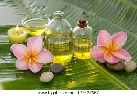 Spa set on banana leaf with stones,oil