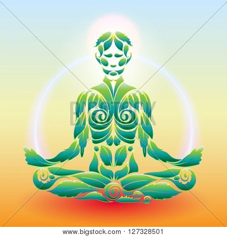 Yoga man in the lotus position in the form of the original organic plant vector logo design template. Healthy natural lifestyle Logo Icon Concept. Elite Life Yoga.