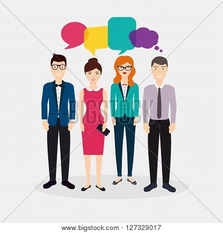 Business People With Colorful Dialog Speech. Social Network And Social Media Concept. Business Flat