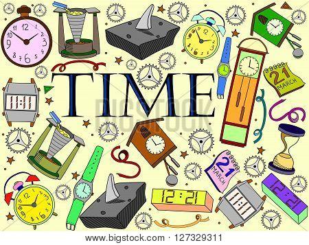 Time line art design vector illustration. Clock separate objects. Timer hand drawn doodle design elements.
