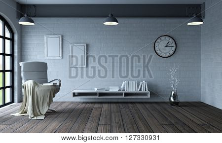 3d render of chair in modern apartment setting