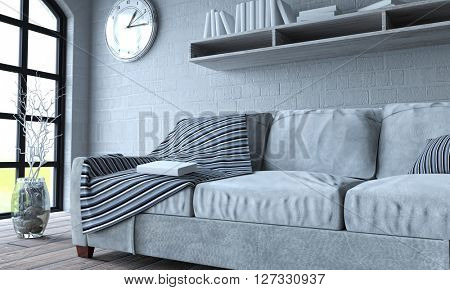 3d render of sofa in modern apartment setting