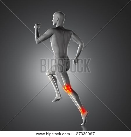 3D render of a medical figure with partial skeleton in running pose with knee and ankle joint highlighted