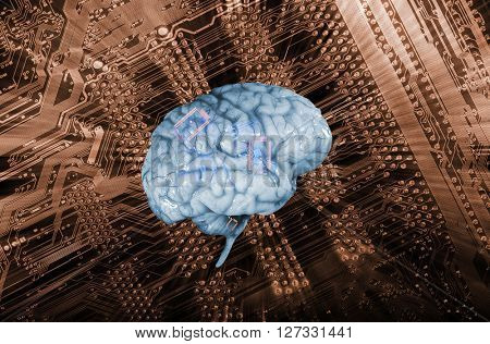 artificial intelligence, human brain against a circuit-board, surreal communication