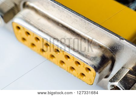 a yellow computer soundcard port macro closeup ** Note: Shallow depth of field