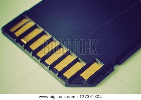 a part of memory card macro closeup