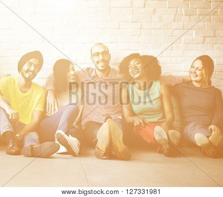 Diverse Group Casual People Sitting Floor Concept