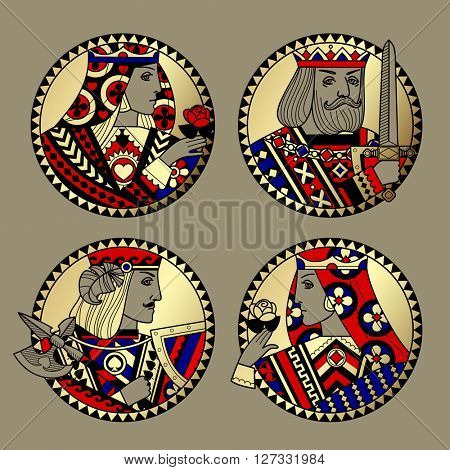 Round shapes with faces of playing cards characters. Original vintage design in gold, red, blue and black colors. Vector illustration