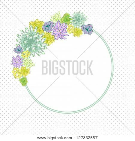 Flower round circle card template vector. Mums, roses and succulents wedding invitation or greeting card design. Green and purple violet flower decor.
