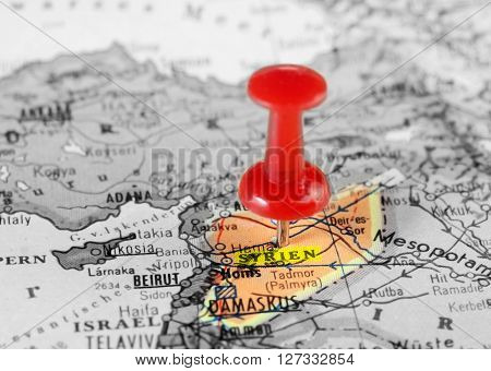Syria Map  Red Pin