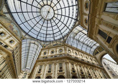 Galleria Vittorio Emanuele in Milan detail of the vault