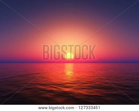 3D render of the ocean against a sunset sky