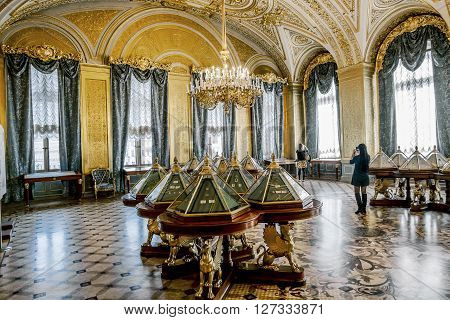 April 17 2016. Saint-Petersburg. The interior of the Golden living room in the Hermitage Museum in St. Petersburg.Russia.