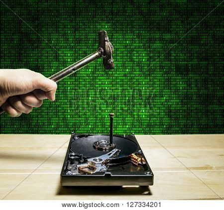 A hammer hits a nail into the hard drive from the computer in the background of the digits of the matrix