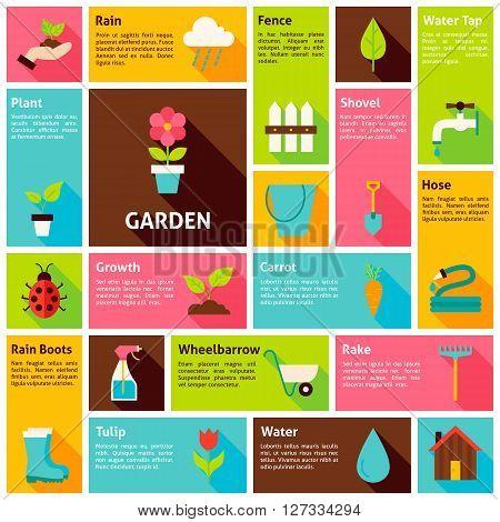 Flat Design Vector Icons Infographic Garden Nature Concept