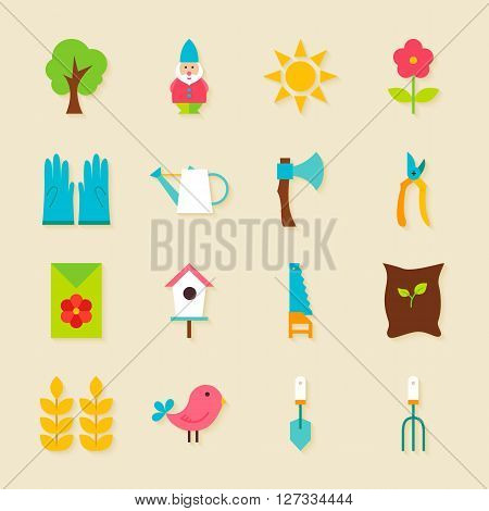 Gardening Tools Flat Objects Set With Shadow