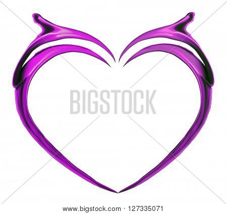 Purple heart made of paint splash isolated on white