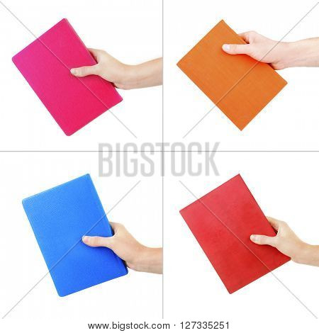 Hand holding bright color book isolated on white in collage