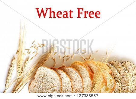 Fresh baked bread slices isolated on white. Health and diet concept