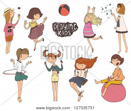 Set of fun and kind kids illustrations. Girls are playing outdoors smiling jumping on playground playing with hula hup fitball scipping rope ball. Vector isolated on white background picture.