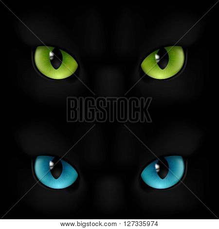 Green and blue cats eyes on a black background